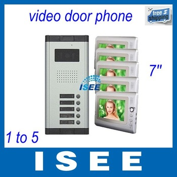 "2014 Brazil Free Shipping 7"" LCD 5 Flats Apart Video Doorbell Door phone Intercom"