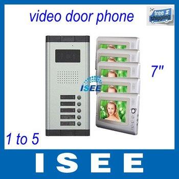 "Big sale  Free Shipping 7"" LCD 5 Flats Apart Video Doorbell Door phone Intercom"