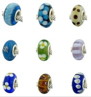 Free shipping.Wholesale-loose beads 300pcs/lot 2012 NEW 925 silver Murano lampwork beads 925 marked fit Bracelets #25