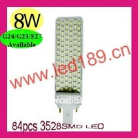 Free shipping & Wholesale G24/G23/E27 BASE SMD LED PL 8W hot sale!!!