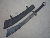 "RARE OLD CHINESE MILITARY ""DADAO"" KATANA BROAD SWORD,with leather sheath,best collection&adornment,free shipping"