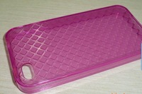 Free shipping! 300pcs/lot Crystal TPU Gel Skin Case for iPhone 4, Mobile phone case