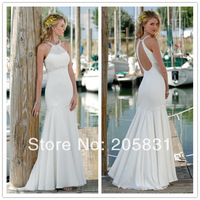 2014 New Excellent Free Shipping Wholesale Exquisite Beading Chiffon Beach White Wedding Dresses N2781