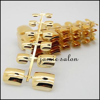 Free Shipping Gold Fashionable Metallic Full Cover Fake Toe Nail Tips #601