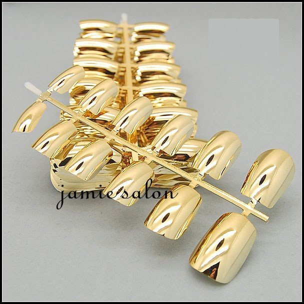 Fashionable Metallic Chrome Gold Full Cover False Nail Tips 50sets/bag Free Shipping #602(China (Mainland))