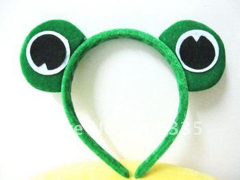 2012 hot sale WHOSALE 10 PCS CHILDRENS PLUSH FROG EAR COSTUME HEADBAND christmas gift AL-20