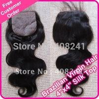 "Brazilian virgin hair silk top closure 4""x4"" (baby hair, blench knots)"