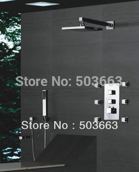 2011 fashion ! Luxury shower set faucet bathroom brass chrome wall mounted rainfall b8888