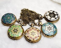 1PCS/ LOT Free Shipping! Wholesale high fashion alloy crystal vintage quartz pocket watch, quartz watch, necklace