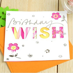 Pretty greeting card +envelope,12.5x12.5cm, Birthday card, MIX COLORS, good quality (SS-749)(China (Mainland))