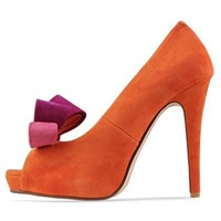 Blue and Orange . Free Shipping . Quality PU Gorgeous Bowtie Wedding High Heels with Lovely Bowtie . Retail and Wholesale
