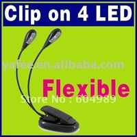 Free Shipping Black Book Light Clip Dual 2 Arm 4 LED Flexible Stand Laptop Lamp LED Book Light O-126
