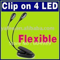 Free Shipping Black Book Light Clip Dual 2 Arm 4 LED Flexible Stand Laptop Lamp LED Book Light O-126