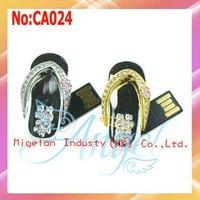 Wholesale 1GB 2GB 4GB 8GB 16GB 32GB 64GB good quality slippers jewelry usb flash drive with 1 year warranty+Free shipping #CA024