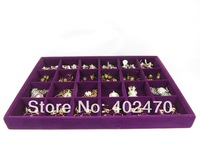 Wholesale Free Shipping Fashion 4 Purple Velvet 24 Slot Jewelry Ring Organizer Display Box Tray Holder Show Case Stand 35X24X3cm