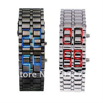 Freeshipping!HOT Lava Style Iron Samurai Japanese inspired red/blue Digital LED watch !