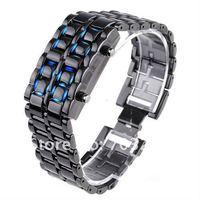 Freeshipping!10pcs/lot HOT Lava Style Iron Samurai Japanese inspired red/blue Digital LED watch !