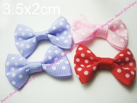 Lot Of 100 Swiss Dot Polka Dot Ribbon Bowknot Butterfly Tie Ribbon Bow For Decoration! Free shipping!