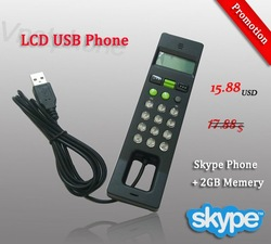 2011 Price-off promotions wholesale with 2GB Flash Memory skype USB Phone Handset Voip phone,LCD USB Phone,free shipping(China (Mainland))