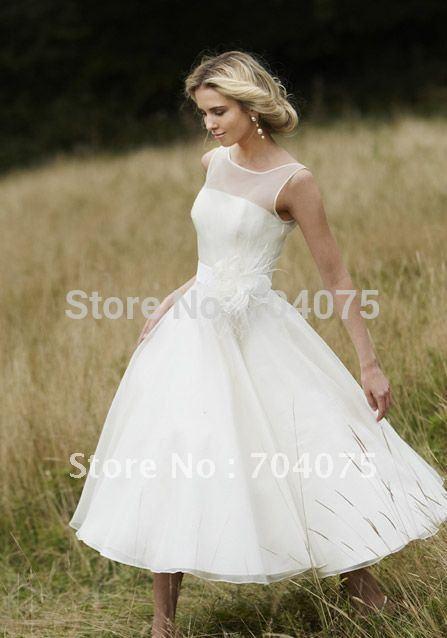 Ivory Tea Length Wedding Dresses - Ocodea.com