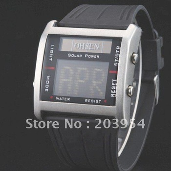 Free shipping!silver digital lcd sports ohsen NR Waterproof fashion watch for mens ladies w129