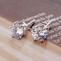 Free Shipping!!! Wholesale Quality Women&amp;#39;s 6MM Crown Style Platinum Plated &amp;amp; Zircons Stud Earrings, Factory Price! (110526-05)