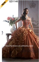 2014 Fashionable New Arrival Royal Style Orange Golden Ball Gown Prom Dresses with Detachable Over SkirtQD1146