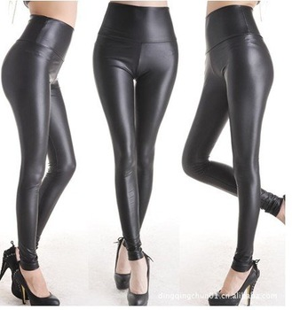 East Knitting FREE shipping C1 Women Shiny Metallic High Waist Pants Black Stretchy faux Leather Leggings  S/M/L/XL