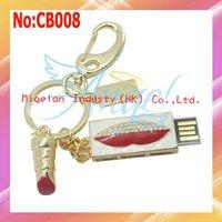 Wholesale USB Drive Metal lipstick USB Flash Drive1GB2GB 4GB 8GB 16GB 32GB 64GB1 year warranty #CB008