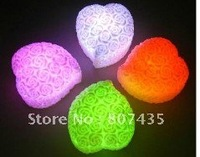 FreeShipping !Wholesale 20ps/lot 2011 Heart Rose Mini Night Light,7 Colors Changing,Mix Design is Accepted