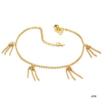 Fashion Anklets 18K gold plated Smooth Ball Chains 11 inch foot link GP gold anklet with bells charms jewelry FREE SHIPPING 719