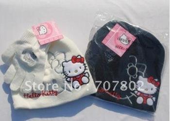 Promotions!!Wholesale Fashion Hello Kitty hats+gloves/ children hat/lovely kid cap/ cotton hats Fashion cap+glove