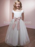 Free ship Custom Fancy Girls puffy dresses evening Gowns children flower girls dress White