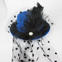 blue Mini  hat   feather Veil PEARL FASCINATOR  top