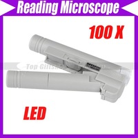 Pocket LED Illuminated 100X Microscope Magnifier Loupe#3068