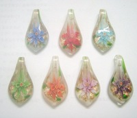 Free Shipping 10pcs/lot Multicolor Murano Lampwork Glass Pendants For DIY Craft Jewelry PG10