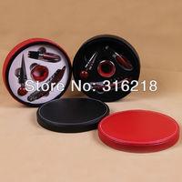 free shipping bar accessories set in pu leather box with 4pcs accessories/wine accessories/wine tools set/bar set