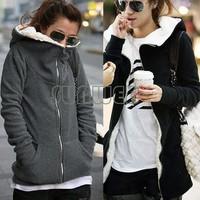 Freeshipping,2014 Korea Women Hoodie Coat Warm Zip Up Outerwear Sweatshirts 2Colors M,L,XL 12