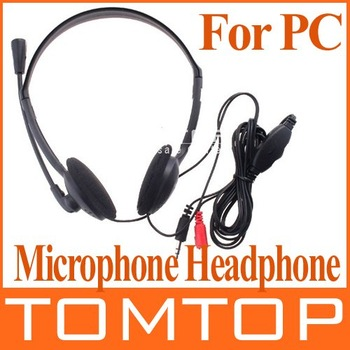 PC Microphone Headphone Headset MSN Skype Talk XTY-21 3.5mm  Black Color