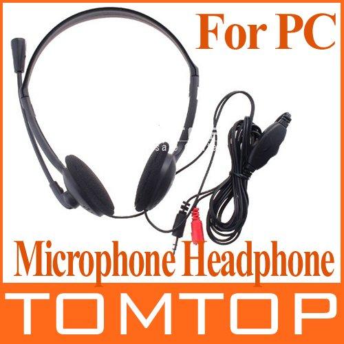 PC Microphone Headphone Headset MSN Skype Talk XTY-21 3.5mm Black Color(China (Mainland))