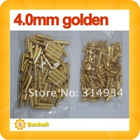 100 pairs 4.0 4mm banana connector plug Gold Bullet Connector Neu Bullet Connectors fast shipping