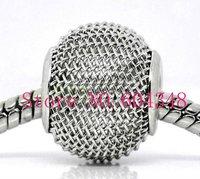 16MM Rhodium Tone Mesh Bead Balls, Metal Big Hole Basketball Wives Beads, Perfect Fits Charm Bracelets, Jewelry Findings-100PCS