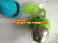 wholesale-free shipping 1pc  stainless steel   Silicone tea bag strainer infuser  dipper  filtre dia about 4cm,green color