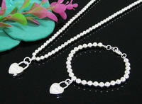 EVYSTZ (105) Hot wholesale fashion 925 sterling silver plated bridal heart lock jewelry sets silver 925 sets setting gift