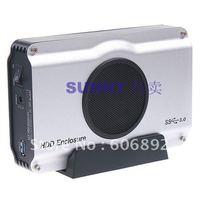 Free shipping 3.5 inch SATA to USB3.0 HDD Enclosure / Box / case internal cool fan