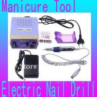 Electric Nail Drill Manicure Tool 6 Bit Pedicure Glazing Manicure File Machine 4000-20000RPM 220-240V 50Hz 15W, with Foot Pedal