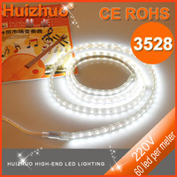3528 60 leds per meter 220V led strip light  warm white with one plug and clips