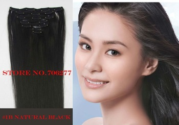 "Free shipping,120g,Hair extensions 7pcs set,18""-28"", #1B Natural black,full around head human hair clip in on extensions"