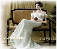 Free shipping Newest Noble Elegant Designer Charming Princess Bridal A-line Strapless Wedding Gown Dress Lace Satin Dress