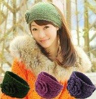 12pcs/lot wool crochet camellia flower elastic headband braided woolen hairband winter styleAJB-0115 free shipping, many colors